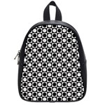 Modern Dots In Squares Mosaic Black White School Bags (Small)  Front