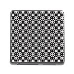 Modern Dots In Squares Mosaic Black White Memory Card Reader (Square) Front