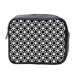 Modern Dots In Squares Mosaic Black White Mini Toiletries Bag 2-Side
