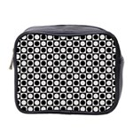 Modern Dots In Squares Mosaic Black White Mini Toiletries Bag 2-Side Front