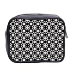 Modern Dots In Squares Mosaic Black White Mini Toiletries Bag 2-Side Back