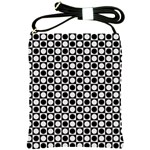 Modern Dots In Squares Mosaic Black White Shoulder Sling Bags Front