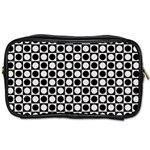 Modern Dots In Squares Mosaic Black White Toiletries Bags Front