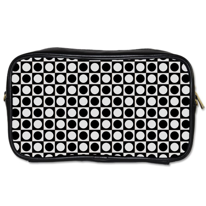 Modern Dots In Squares Mosaic Black White Toiletries Bags