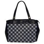 Modern Dots In Squares Mosaic Black White Office Handbags Front