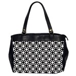Modern Dots In Squares Mosaic Black White Office Handbags (2 Sides)  Front