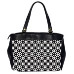 Modern Dots In Squares Mosaic Black White Office Handbags (2 Sides)  Back