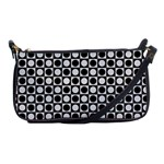 Modern Dots In Squares Mosaic Black White Shoulder Clutch Bags Front
