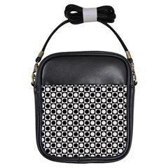 Modern Dots In Squares Mosaic Black White Girls Sling Bags