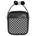 Modern Dots In Squares Mosaic Black White Girls Sling Bags Front