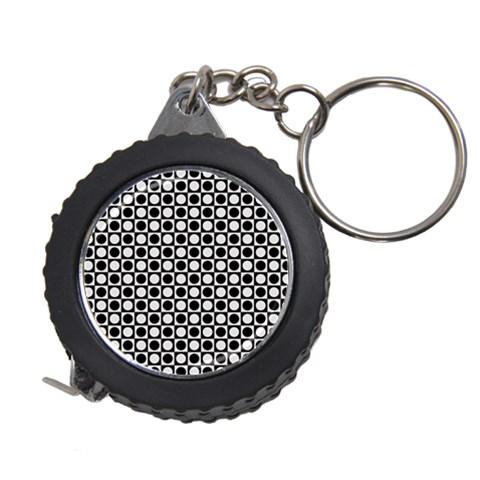 Modern Dots In Squares Mosaic Black White Measuring Tapes