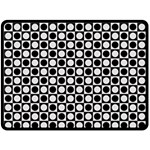 Modern Dots In Squares Mosaic Black White Fleece Blanket (Large)  80 x60 Blanket Front