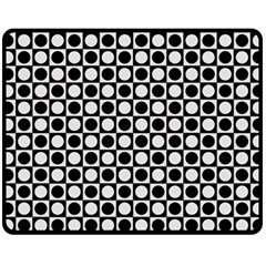 Modern Dots In Squares Mosaic Black White Fleece Blanket (Medium)