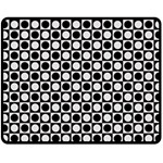 Modern Dots In Squares Mosaic Black White Fleece Blanket (Medium)  60 x50 Blanket Front