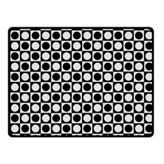Modern Dots In Squares Mosaic Black White Fleece Blanket (Small)