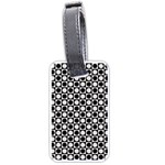 Modern Dots In Squares Mosaic Black White Luggage Tags (Two Sides) Back