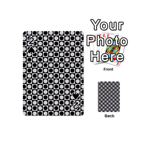 Modern Dots In Squares Mosaic Black White Playing Cards 54 (Mini)