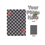 Modern Dots In Squares Mosaic Black White Playing Cards 54 (Mini)  Front - Heart6