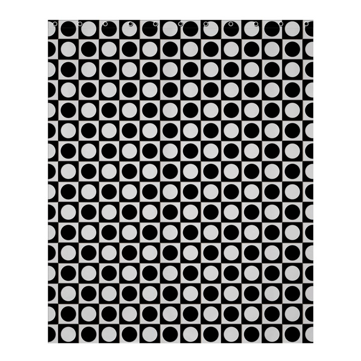 Modern Dots In Squares Mosaic Black White Shower Curtain 60  x 72  (Medium)