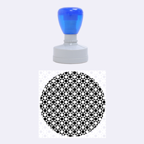 Modern Dots In Squares Mosaic Black White Rubber Round Stamps (Medium)