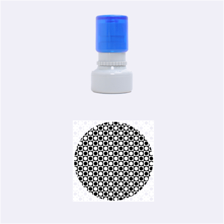 Modern Dots In Squares Mosaic Black White Rubber Round Stamps (Small)