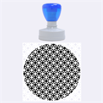 Modern Dots In Squares Mosaic Black White Rubber Round Stamps (Large) 1.875 x1.875  Stamp