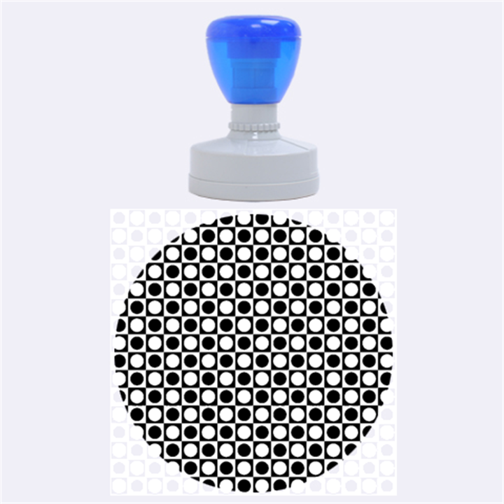 Modern Dots In Squares Mosaic Black White Rubber Round Stamps (Large)
