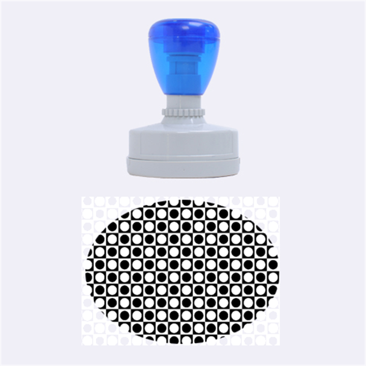 Modern Dots In Squares Mosaic Black White Rubber Oval Stamps