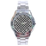 Modern Dots In Squares Mosaic Black White Stainless Steel Analogue Watch Front