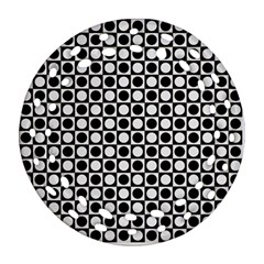 Modern Dots In Squares Mosaic Black White Ornament (round Filigree)