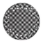 Modern Dots In Squares Mosaic Black White Ornament (Round Filigree)  Front
