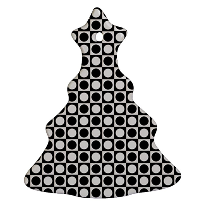 Modern Dots In Squares Mosaic Black White Ornament (Christmas Tree)