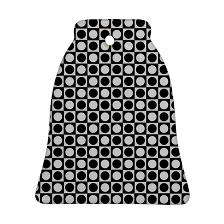 Modern Dots In Squares Mosaic Black White Ornament (Bell)