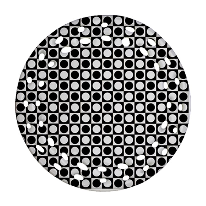 Modern Dots In Squares Mosaic Black White Round Filigree Ornament (2Side)