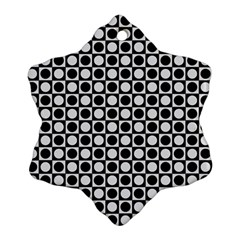 Modern Dots In Squares Mosaic Black White Snowflake Ornament (2 Side)