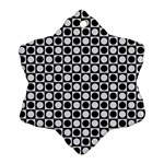 Modern Dots In Squares Mosaic Black White Snowflake Ornament (2-Side) Front