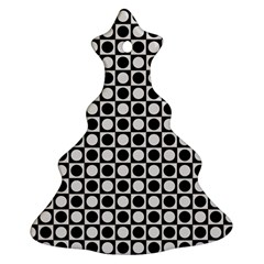 Modern Dots In Squares Mosaic Black White Christmas Tree Ornament (2 Sides)