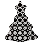 Modern Dots In Squares Mosaic Black White Christmas Tree Ornament (2 Sides) Back