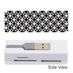 Modern Dots In Squares Mosaic Black White Memory Card Reader (Stick)  Front