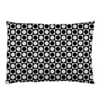 Modern Dots In Squares Mosaic Black White Pillow Case (Two Sides) Back