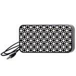 Modern Dots In Squares Mosaic Black White Portable Speaker (Black)  Front