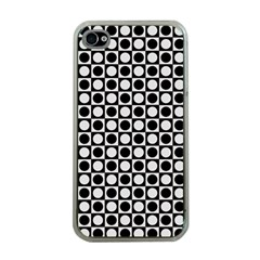 Modern Dots In Squares Mosaic Black White Apple Iphone 4 Case (clear)