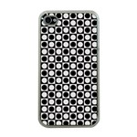 Modern Dots In Squares Mosaic Black White Apple iPhone 4 Case (Clear) Front