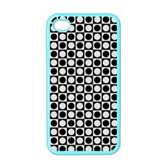 Modern Dots In Squares Mosaic Black White Apple Iphone 4 Case (color)