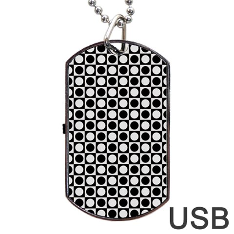 Modern Dots In Squares Mosaic Black White Dog Tag USB Flash (One Side)