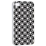 Modern Dots In Squares Mosaic Black White Apple iPhone 4/4s Seamless Case (White) Front