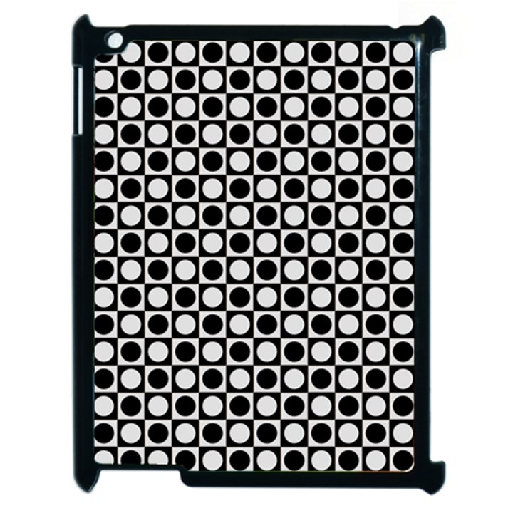 Modern Dots In Squares Mosaic Black White Apple iPad 2 Case (Black)