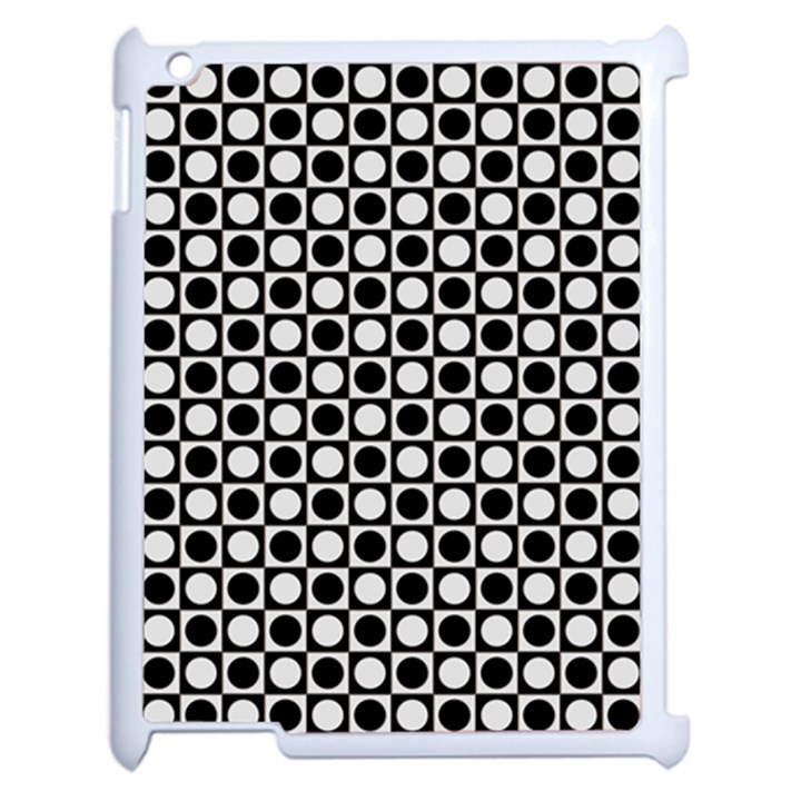 Modern Dots In Squares Mosaic Black White Apple iPad 2 Case (White)