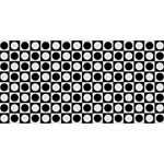 Modern Dots In Squares Mosaic Black White Twin Hearts 3D Greeting Card (8x4) Front