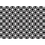 Modern Dots In Squares Mosaic Black White Ribbon 3D Greeting Card (7x5) Back